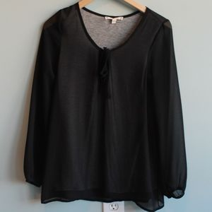 Joie Black/Gray Sheer Knit Top
